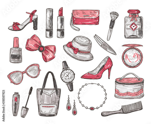 Sketch womens accessories. Handbag, hat and watch, mascara and glasses, bow and lipstick, nail polish and necklace. Fashion vector doodles. Illustration fashion sketch beauty perfume and cosmetics Wall mural