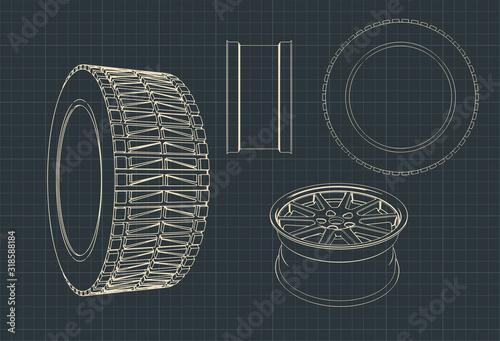 Photo Car alloy wheels and tires blueprints