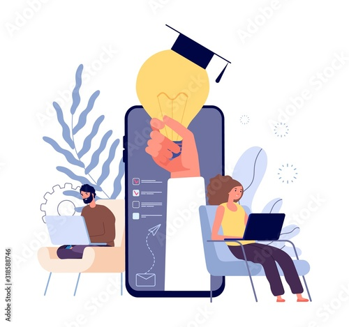 Online Education Distance Learning Students E Learning Concept People Studying With Laptops And Tablets Vector Illustration Education Student Online Distance University E Learning Buy This Stock Vector And Explore Similar Vectors At