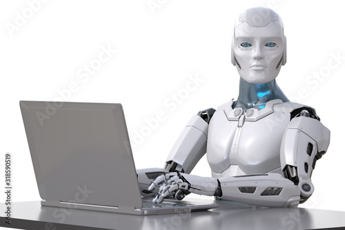 Photo The robot works with a laptop