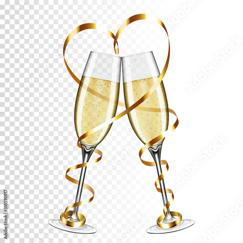 Tablou Canvas Two glasses of champagne with gold ribbon and ring, isolated on transparent background
