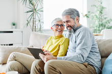 Senior Couple Happy Tablet Computer Love Together