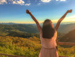 Rear View Of Woman With Arms Raised Standing On Mountain