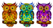 Owl. Wall Sticker. Set Of 3 Ar...