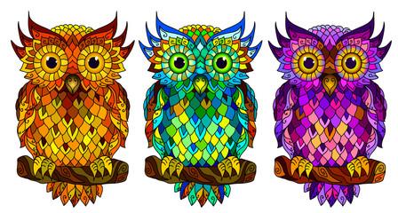 Naklejka Witraże świeckie Owl. Wall sticker. Set of 3 artistic, hand-drawn, decorative multicolored owls on a white background.