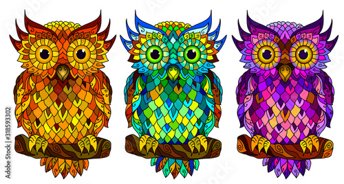 Owl. Wall sticker. Set of 3 artistic, hand-drawn, decorative multicolored owls on a white background.
