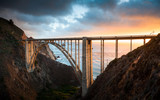 Bixby Bridge along Highway 1 at sunset, Big Sur, California, USA