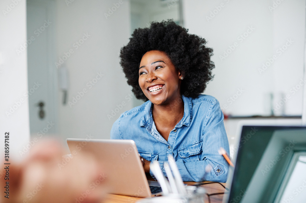Fototapeta portrait young african american girl woman smiling office classroom