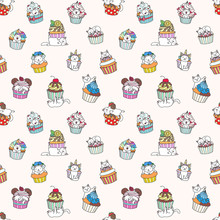 Cute Pattern With Cakes And Cats. Hand Drawn Pattern Of Little Kittens Playing With Cupcakes On Light Pink Background. Vector 8 EPS.