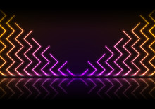 Purple Orange Neon Zig Zag Lines With Reflection. Abstract Pattern Technology Retro Background. Futuristic Glowing Vector Illustration