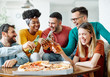canvas print picture - party pizza beer young people friends having fun