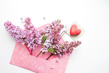 Red Heart On A Card And Lilac ...