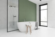 canvas print picture White and green bathroom corner, tub and shower