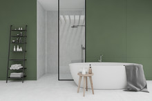White And Green Bathroom With ...