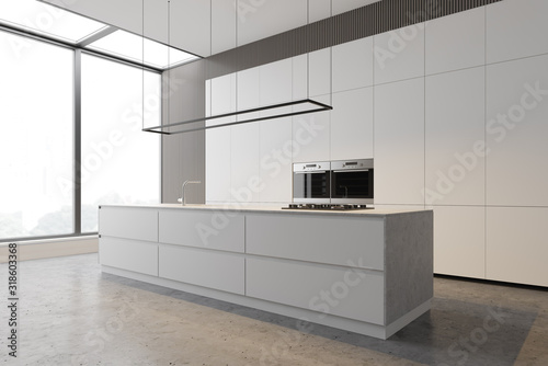 Fotografía Minimalist white kitchen with countertops