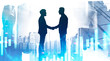 Businessmen shaking hands in city, graph