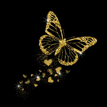 Gold Glittering Butterfly With Hearts. Beautiful Golden Silhouettes On Black Background. For Valentines Day, Wedding Invitations, Cards, Branding, Label, Banner, Concept Design. Vector Illustration.