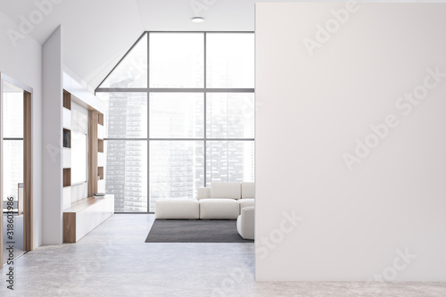 mata magnetyczna White living room with bookcase, sofa and mock up