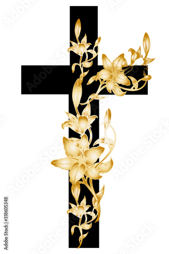 Foto christening cross with gold lily 3