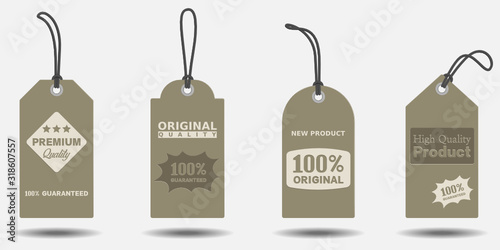Fototapety, obrazy: Set of product labels or price tag, with different shape, isolated on gray background. vector design