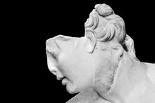 Detail Of Classical Roman Statue Of Female Head In Ruins - Black And White Photo