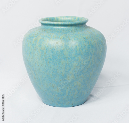 A vintage antique ceramic fragile pottery royal lancastrian 1916 blue and aqua vase isolated on a white background Canvas-taulu