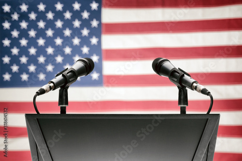 Pulpit with microphones and USA flag on background Wallpaper Mural