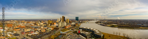 Aerial panorama Downtown Toldeo Ohio USA all logos removed