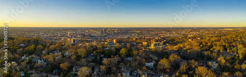 Aerial photo Redmont Park Birmingham Alabama with view of Downtown at sunset Wallpaper Mural