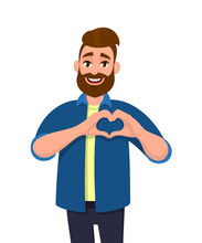 Portrait Of Young Man With Beard Making Or Gesturing Heart Symbol With Fingers. Male Character Design Illustration. Modern Lifestyle, Healthcare, Love Concept In Vector Cartoon Flat Style.