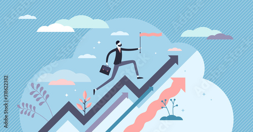 Cuadros en Lienzo Income growth concept, flat tiny person vector illustration