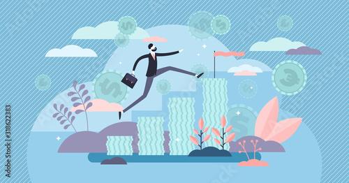 Obraz Income cash growth concept, flat tiny person vector illustration - fototapety do salonu
