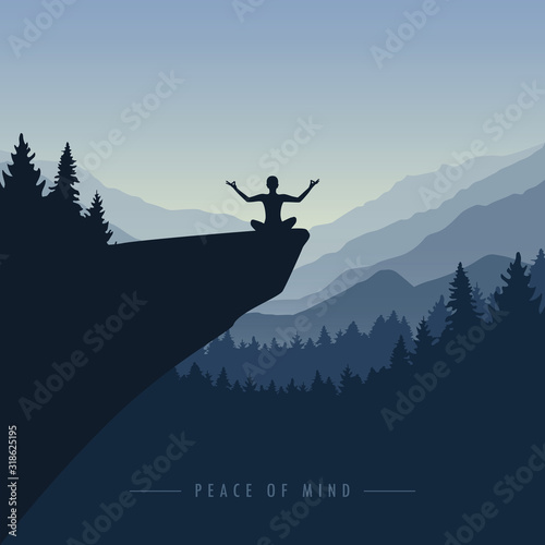 Cuadros en Lienzo peace of mind mediating person on a cliff with mountain view blue nature landsca