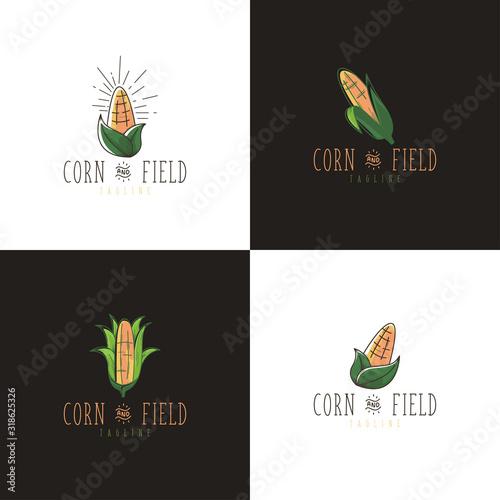 Fototapeta Corn logo concept with hand drawn style vector obraz na płótnie