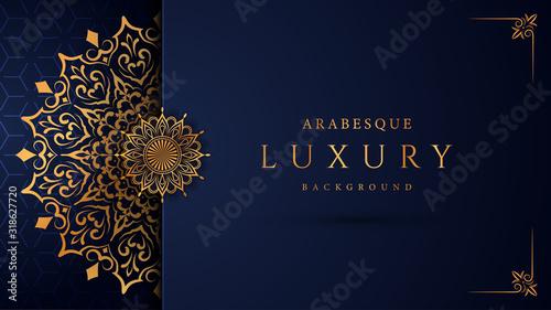 Luxury mandala background with golden arabesque pattern arabic islamic east style Canvas Print