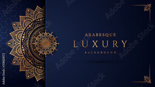 Fotografía Luxury mandala background with golden arabesque pattern arabic islamic east style