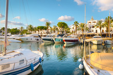 Boats And Yachts Moored In The...