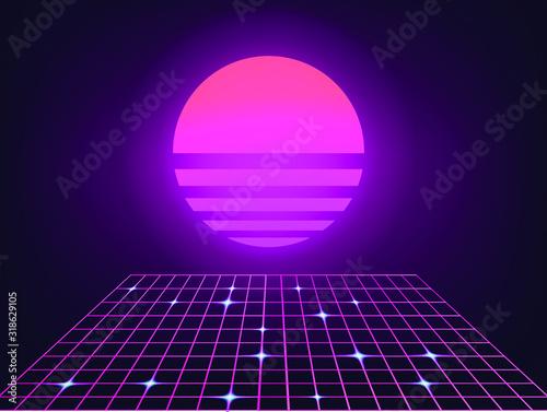 Retrofuturystyczny krajobraz z siatką laserową i neonowym słońcem. Tło w stylu Vaporwave i retrowave.