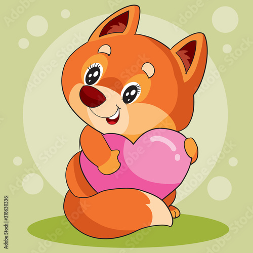 cute fox with big eyes holds his heart to himself and wants to give it for a holiday, vector illustration #318630336