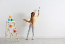 Little Child Painting On Blank...