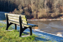 Old Empty Lakeside Bench On A ...
