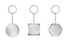 Keychains Set. Metal Round, Square And Hexagon Keyring Holders Isolated On White Background. Silver Colored Accessories Or Souvenir Pendants Mock Up. Realistic 3d Vector Illustration, Icon, Clip Art