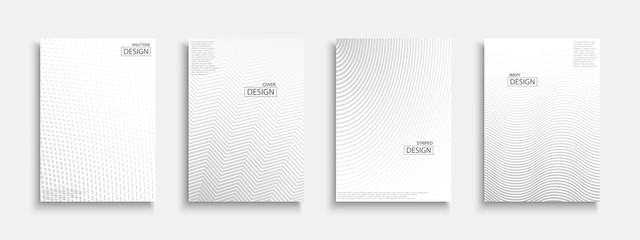 Abstract halftone futuristic templates, posters, placards, brochures, banners, flyers, backgrounds and etc. White and gray textures. Dotted and striped minimalistic contemporary covers