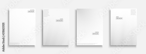 Obraz Abstract halftone futuristic templates, posters, placards, brochures, banners, flyers, backgrounds and etc. White and gray textures. Dotted and striped minimalistic contemporary covers - fototapety do salonu