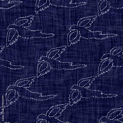 Indigo blue sashiko bird dyed effect texture background Canvas Print