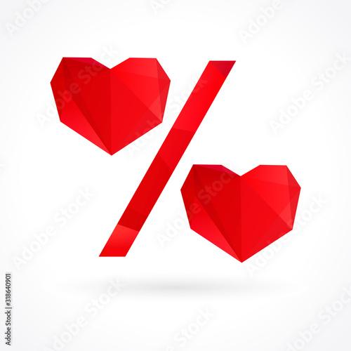 Valokuva Valentine percent heart sale sign