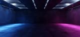 Fototapeta Scene - Sci Fi Futuristic Neon Glowing Purple Blue Concrete Grunge Underground Garage Hallway Tunnel Parking Car Showcase Empty Dark 3D Rendering