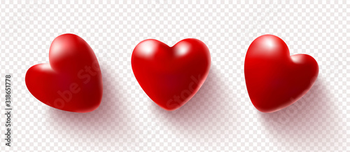 Photo Set of red 3D hearts isolated on a transparent background