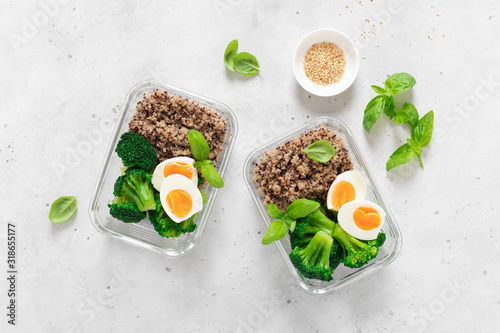 Lunch boxes with broccoli, quinoa and egg, healthy  food, balanced eating concep Wallpaper Mural