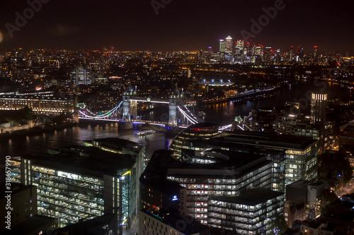 Fototapety, obrazy: AERIAL VIEW OF ILLUMINATED CITY AT NIGHT